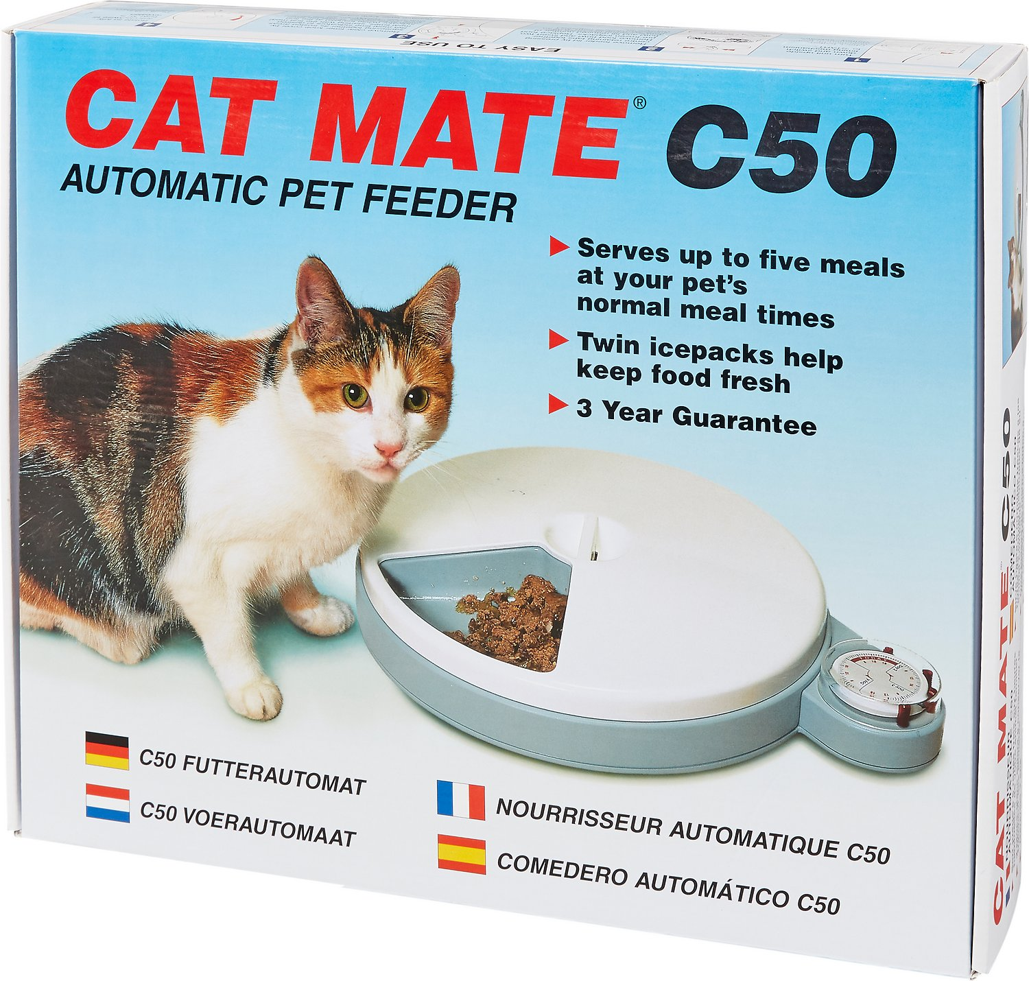 Cat Mate C50 5 Bowl Automatic Pet Feeder 96 Hour Chewy Com