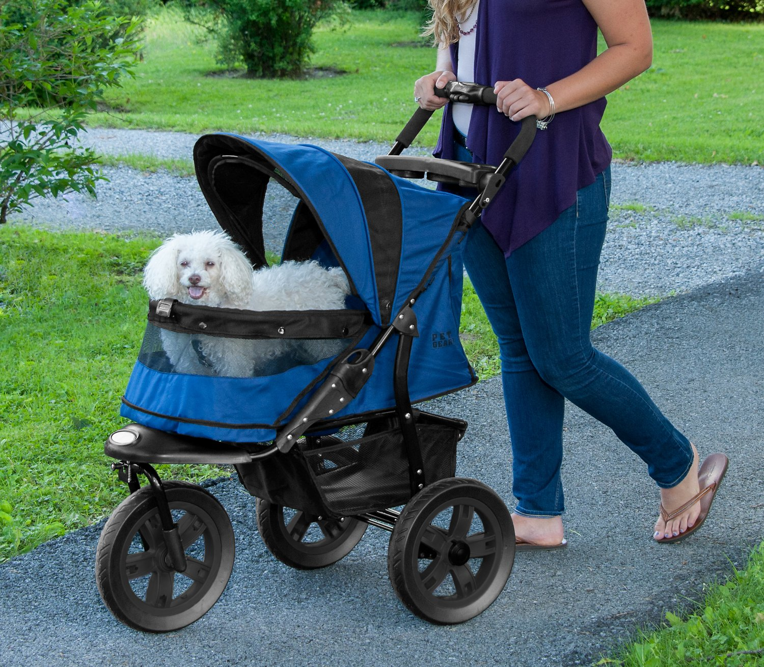 Pet Gear AT3 No-Zip Pet Stroller, Midnight River - Chewy.com