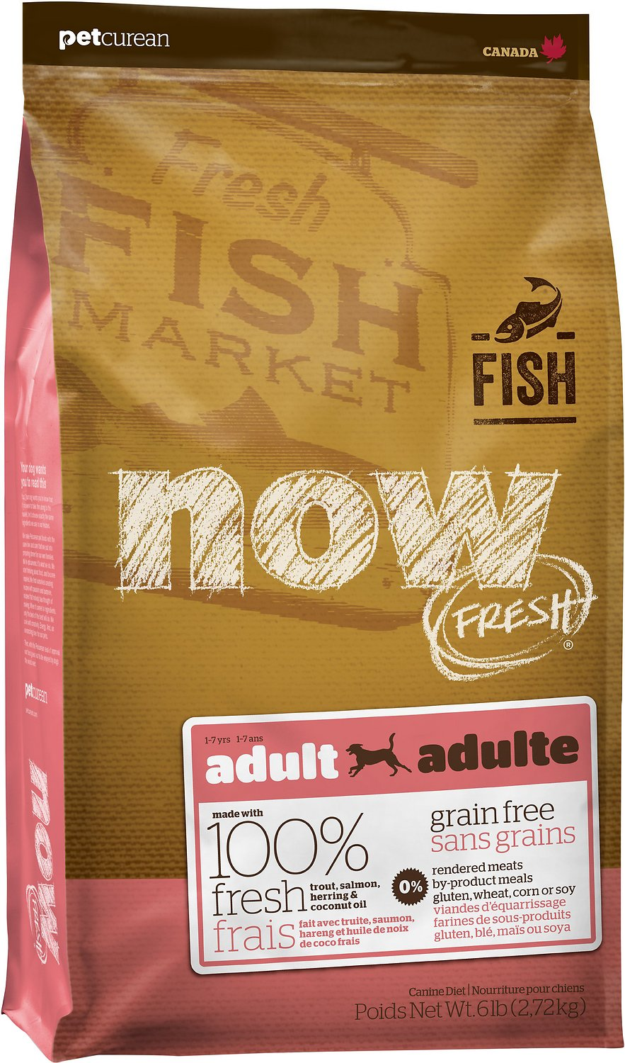 Now fresh grain free adult fish recipe dry dog food 25 lb for Free fishing catalogs