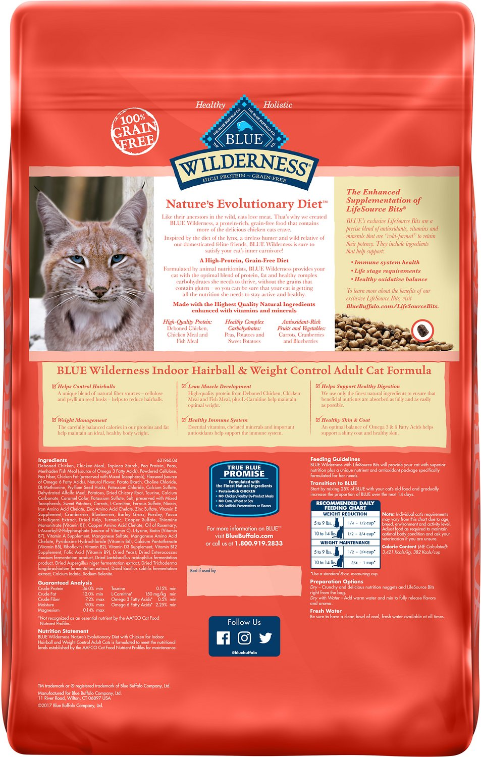 Blue Buffalo Wilderness Indoor Hairball Weight Control En Recipe Grain Free Dry Cat Food