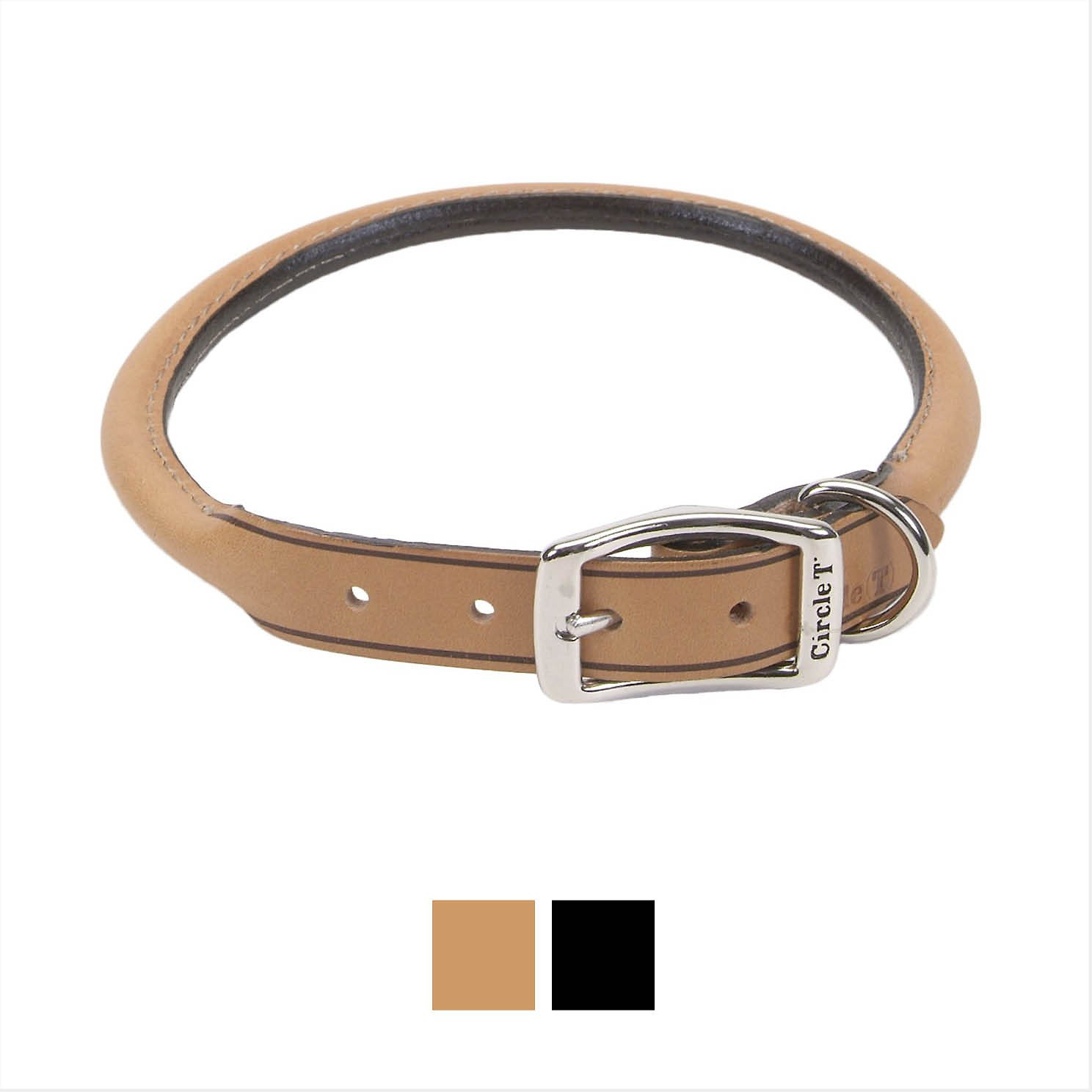 Circle T Oak Tanned Leather Round Dog Collar, 13.75 - 16 in, Black