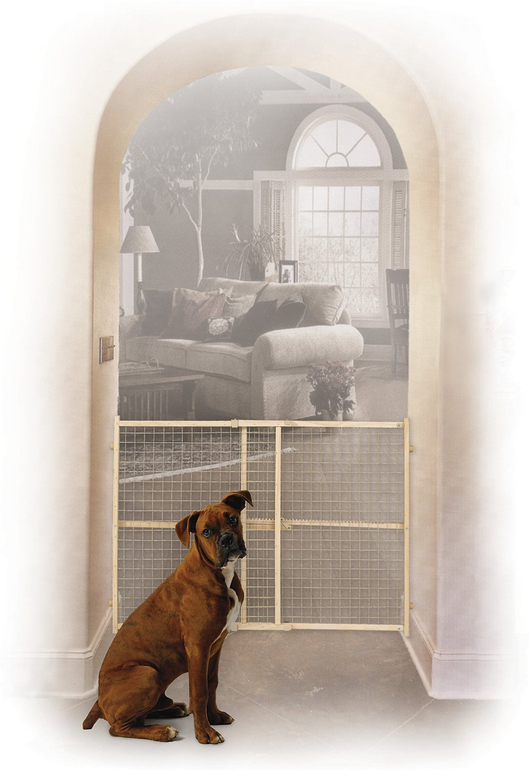 Midwest Wood Wire Mesh Pet Gate 32 In Chewy Com