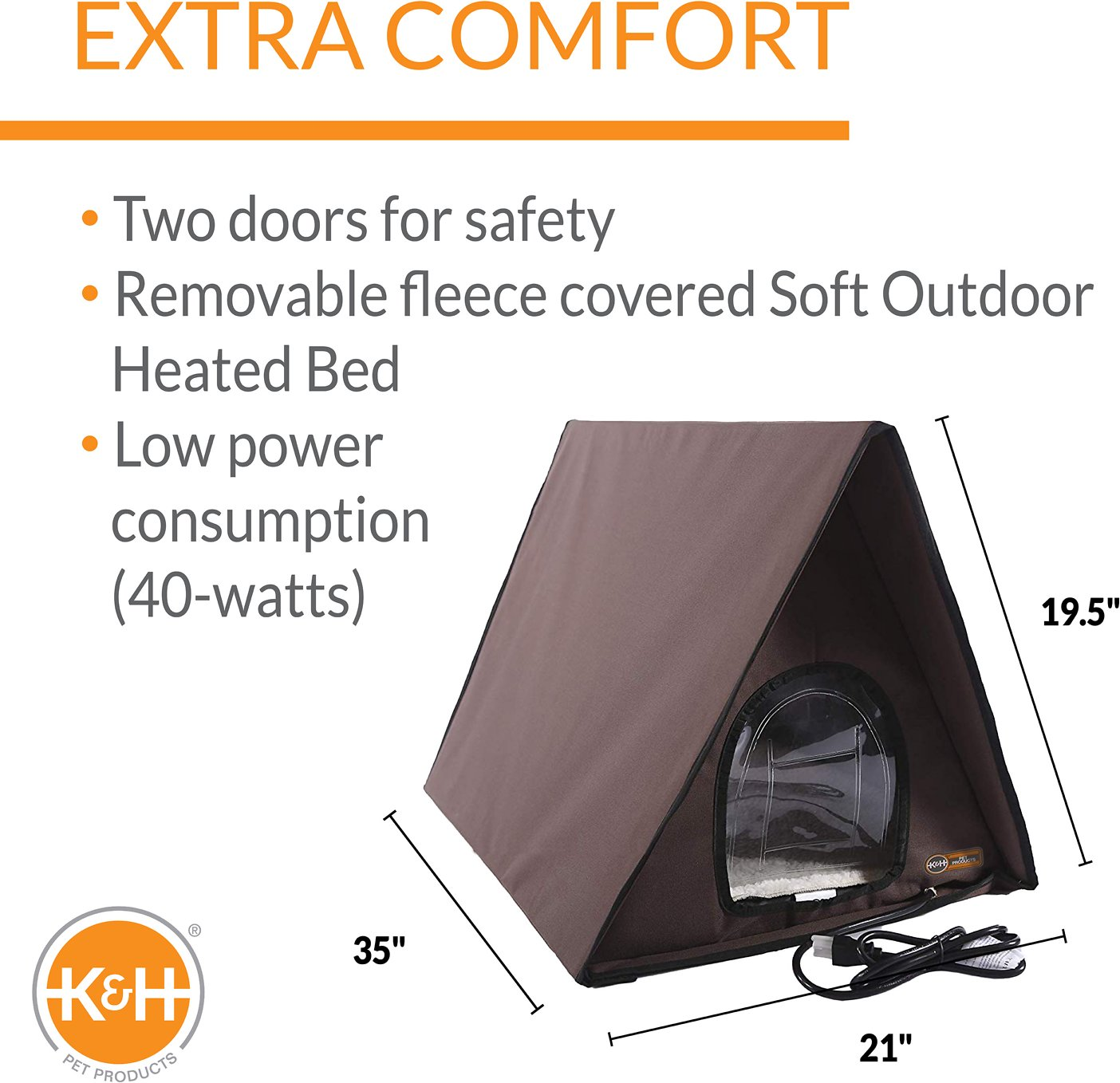K Amp H Pet Products Outdoor Heated Multi Kitty A Frame House