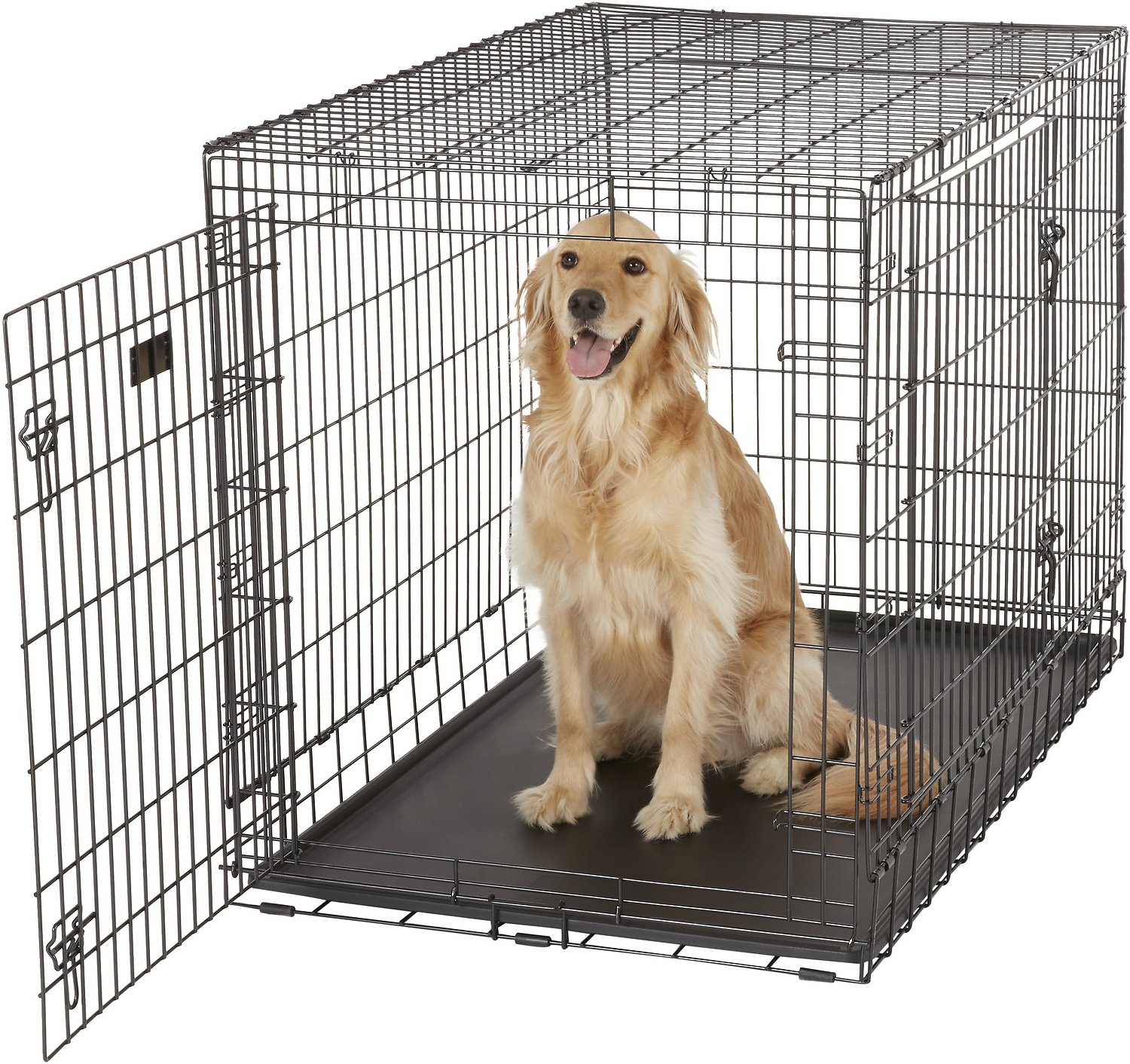 Midwest ultima pro double door dog crate 48 inch for Double door with dog door