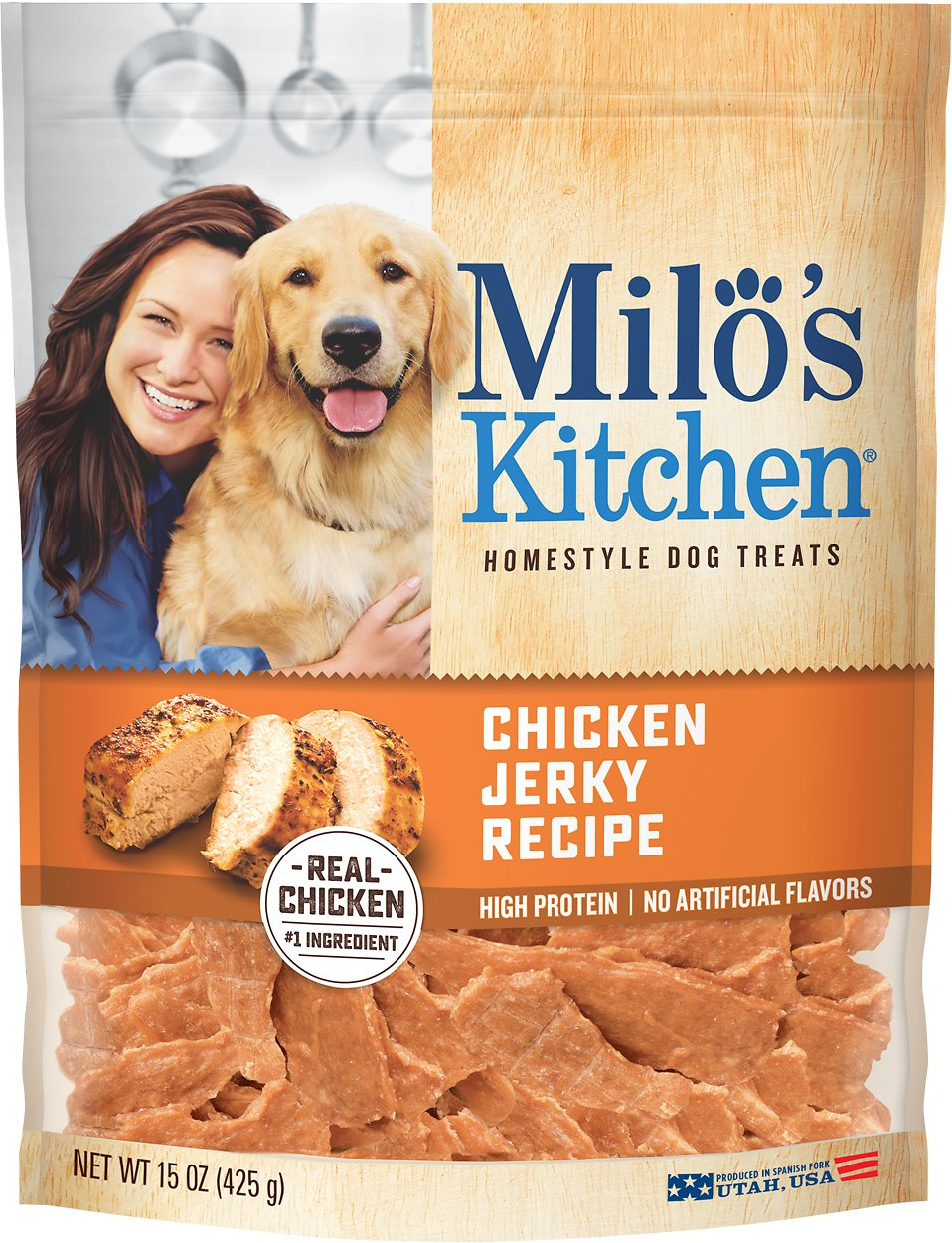 Milo\'s Kitchen Chicken Jerky Recipe Dog Treats, 15-oz bag - Chewy.com