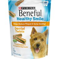 Purina Beneful Healthy Smile Mini Dental Twists Peanut Butter Flavor Dog Treats, 24 count