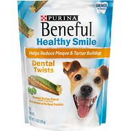 Purina Beneful Healthy Smile Small/Medium Dental Twists Peanut Butter Flavor Dog Treats, 10 count