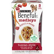 Purina Beneful Medleys Tuscan Style Canned Dog Food, 3-oz, pack of 3