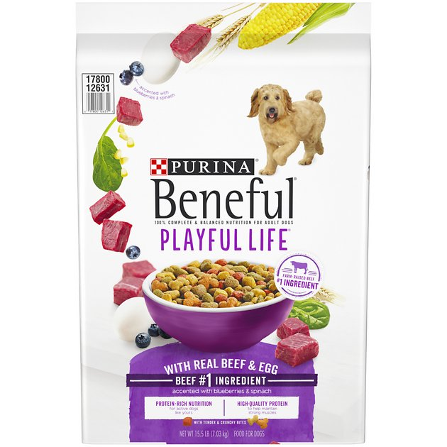 Purina beneful playful life with real beef egg dry dog for Purina tropical fish food