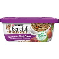 Purina Beneful Prepared Meals Simmered Beef Entree with Carrots, Barley, Wild Rice & Spinach Wet Dog Food, 10-oz, case of 8
