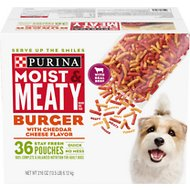 Moist & Meaty Burger with Cheddar Cheese Flavor Dry Dog Food, 6-oz pouch, case of 36