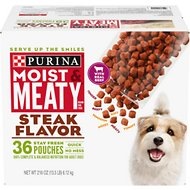 Moist & Meaty Steak Flavor Dry Dog Food, 6-oz pouch, case of 36