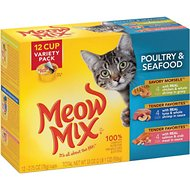 Meow Mix Poultry & Seafood Variety Pack Cat Food Trays, 2.75-oz, case of 12