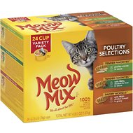 Meow Mix Poultry Selections Variety Pack Cat Food Trays, 2.75-oz, case of 24