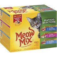 Meow Mix Seafood Selections Variety Pack Cat Food Trays, 2.75-oz, case of 24