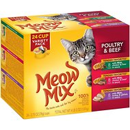 Meow Mix Tender Favorites Poultry & Beef Cat Food Trays Variety Pack, 2.75-oz, case of 24
