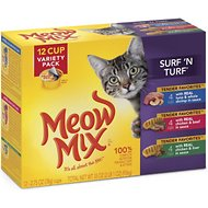 Meow Mix Tender Favorites Surf 'N Turf Variety Pack Cat Food Trays, 2.75-oz, case of 12