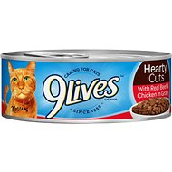 9 Lives Hearty Cuts with Real Beef & Chicken in Gravy Canned Cat Food, 5.5-oz, case of 24