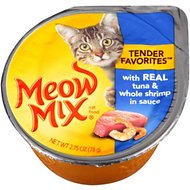Meow Mix Tender Favorites with Real Tuna & Whole Shrimp in Sauce Canned Cat Food, 2.75-oz, case of 12