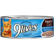 9 Lives Hearty Cuts with Real Chicken & Salmon In Gravy Canned Cat Food, 5.5-oz, case of 24