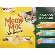 Meow Mix Pate Toppers Seafood & Poultry Variety Pack Canned Cat Food, 2.75-oz cups, case of 12