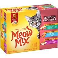 Meow Mix Savory Morsels Seafood Favorites Variety Pack Cat Food Trays, 2.75-oz, case of 12
