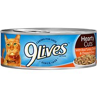 9 Lives Hearty Cuts with Real Turkey, Chicken & Cheese in Gravy Canned Cat Food, 5.5-oz, case of 24