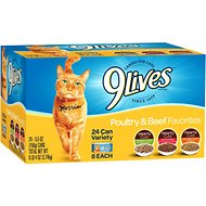 9 Lives Poultry & Beef Favorites Variety Pack Canned Cat Food, 5.5-oz, case of 24