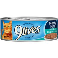 9 Lives Meaty Pate with Real Chicken & Tuna Canned Cat Food, 5.5-oz, case of 24