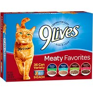 9 Lives Meaty Favorites Variety Pack Canned Cat Food, 5.5-oz, case of 36