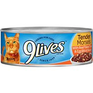 9 Lives Tender Morsels with Real Flaked Tuna & Egg Bits In Sauce Canned Cat Food, 5.5-oz, case of 24