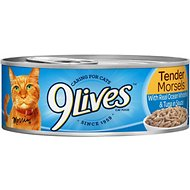 9 Lives Tender Morsels with Real Ocean Whitefish & Tuna In Sauce Canned Cat Food, 5.5-oz, case of 24