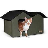 K&H Pet Products Extra-Wide Outdoor Unheated Kitty House, Olive/Black