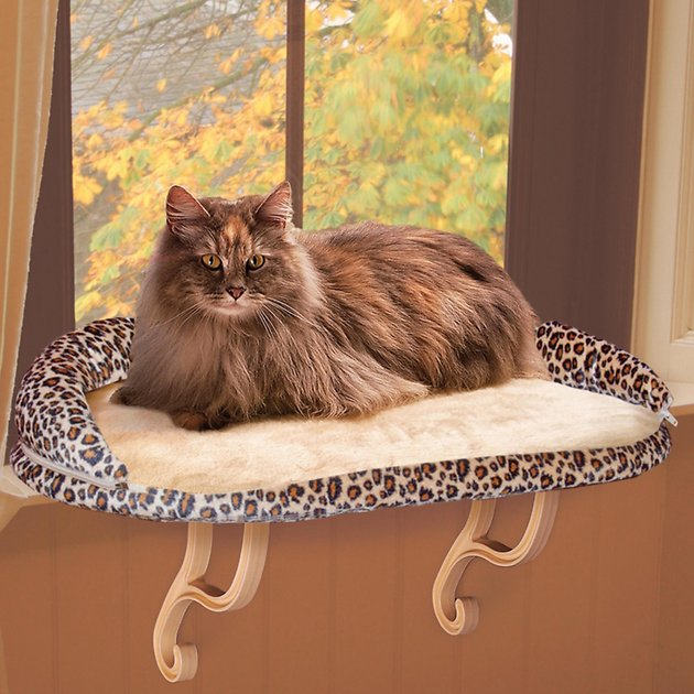 K Amp H Pet Products Deluxe Kitty Sill With Bolster Leopard