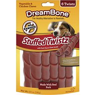 DreamBone Stuffed Twistz Pork Chews Dog Treats, 6 count