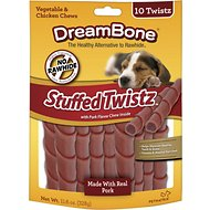DreamBone Stuffed Twistz Pork Chews Dog Treats, 10 count