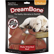 DreamBone Medium Beef Chew Bones Dog Treats, 4 count