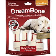 DreamBone Medium Chicken Chew Bones Dog Treats, 4 count