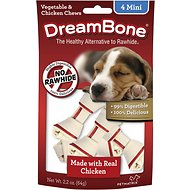 DreamBone Mini Chicken Chew Bones Dog Treats, 4 count