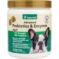 NaturVet Advanced Probiotics & Enzymes Plus Vet Strength PB6 Probiotic Dog Soft Chews, 120 count