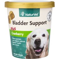 NaturVet Bladder Support Plus Cranberry Dog Soft Chews, 60 count