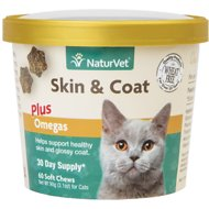 NaturVet Skin & Coat Plus Omegas Cat Soft Chews, 60 count