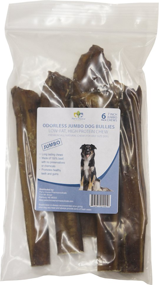 pet 39 s choice pharmaceuticals odorless jumbo bully sticks 7 dog treats 6 count. Black Bedroom Furniture Sets. Home Design Ideas
