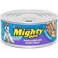 Mighty Dog Hearty Pulled-Style Chicken Dinner in Gravy Canned Dog Food, 5.5-oz, case of 24