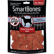 SmartBones Mini Beef Chew Bones Dog Treats, 24 count
