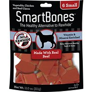 SmartBones Small Beef Chew Bones Dog Treats, 6 count