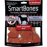SmartBones Medium Beef Chew Bones Dog Treats, 4 count