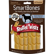 SmartBones Stuffed Twistz Peanut Butter Chews Dog Treats, 6 count