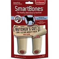 SmartBones Large Butcher's Cut Pork Flavor Chews Dog Treats, 2 count