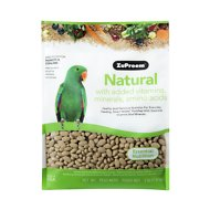 ZuPreem Natural with Vitamins, Minerals & Amino Acids Parrot & Conure Bird Food, 3-lb bag